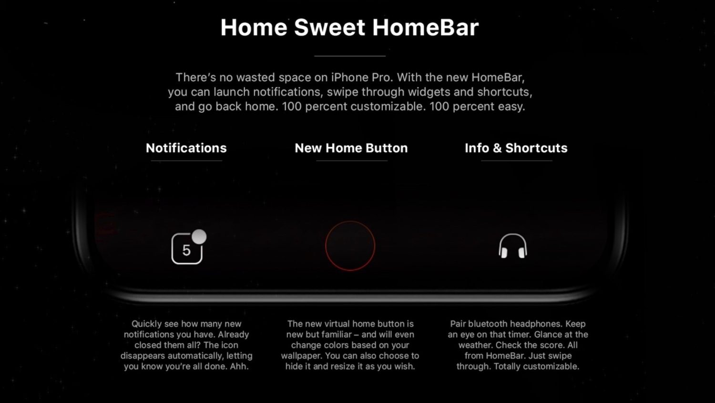 iPhone8のホームバーのイメージ